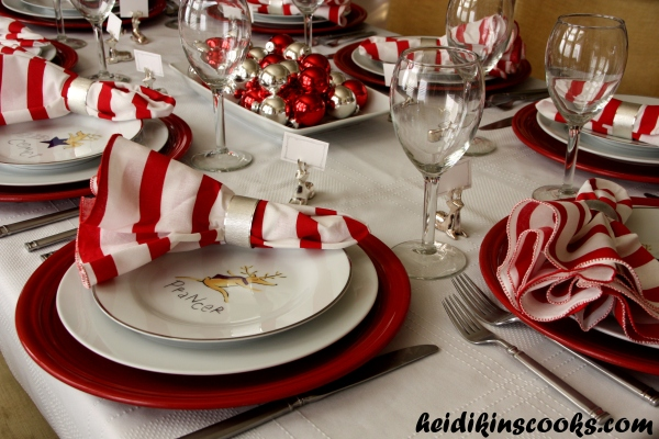 Tablescape_Christmas Pottery Barn Reindeer Plates 10_heidikinscooks_Dec 2013