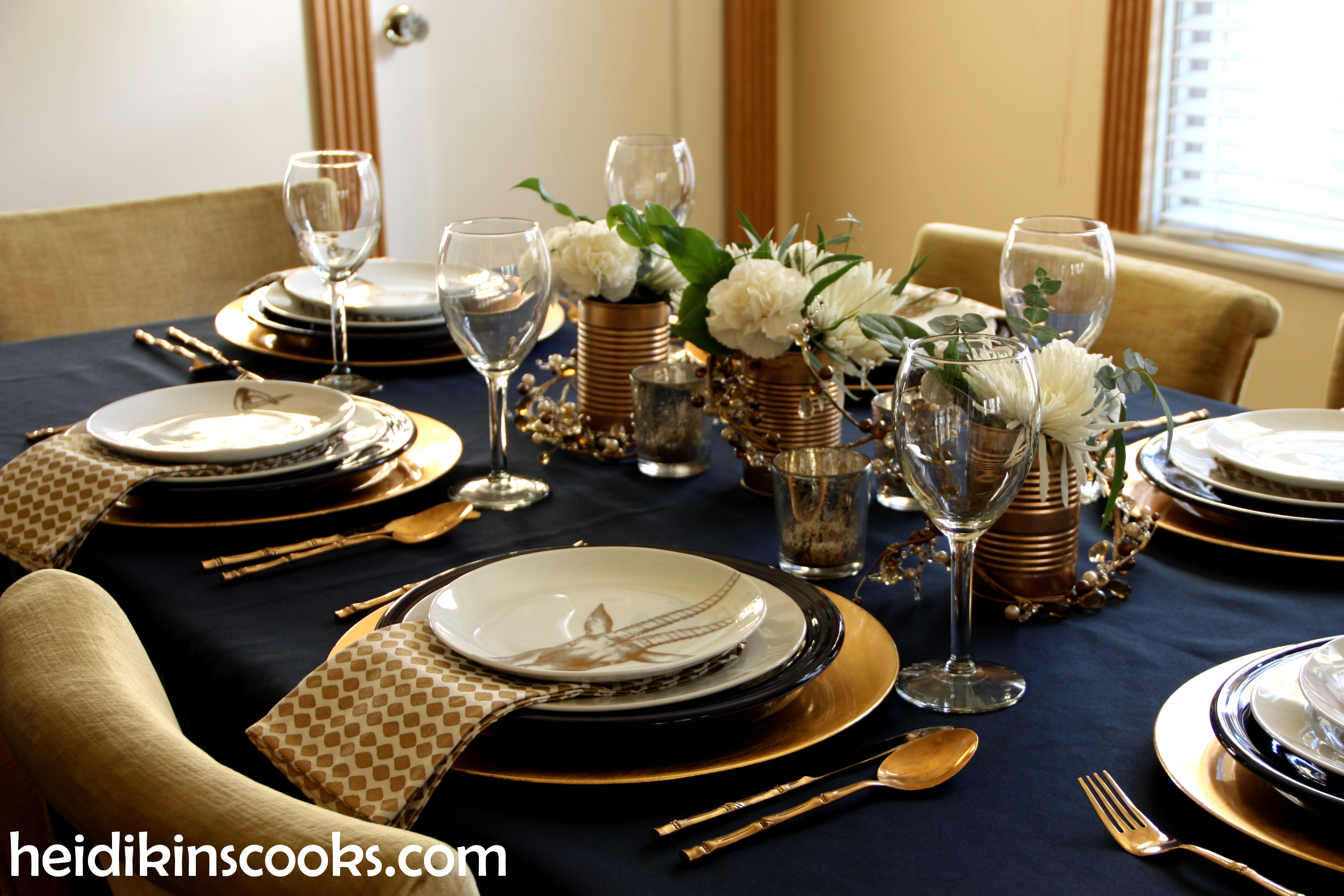 Tablescape Navy Gold_Antler Plates1_heidikinscooks_Jan 2014 & Table setting with gold and navy. And antlers.   heidikins cooks