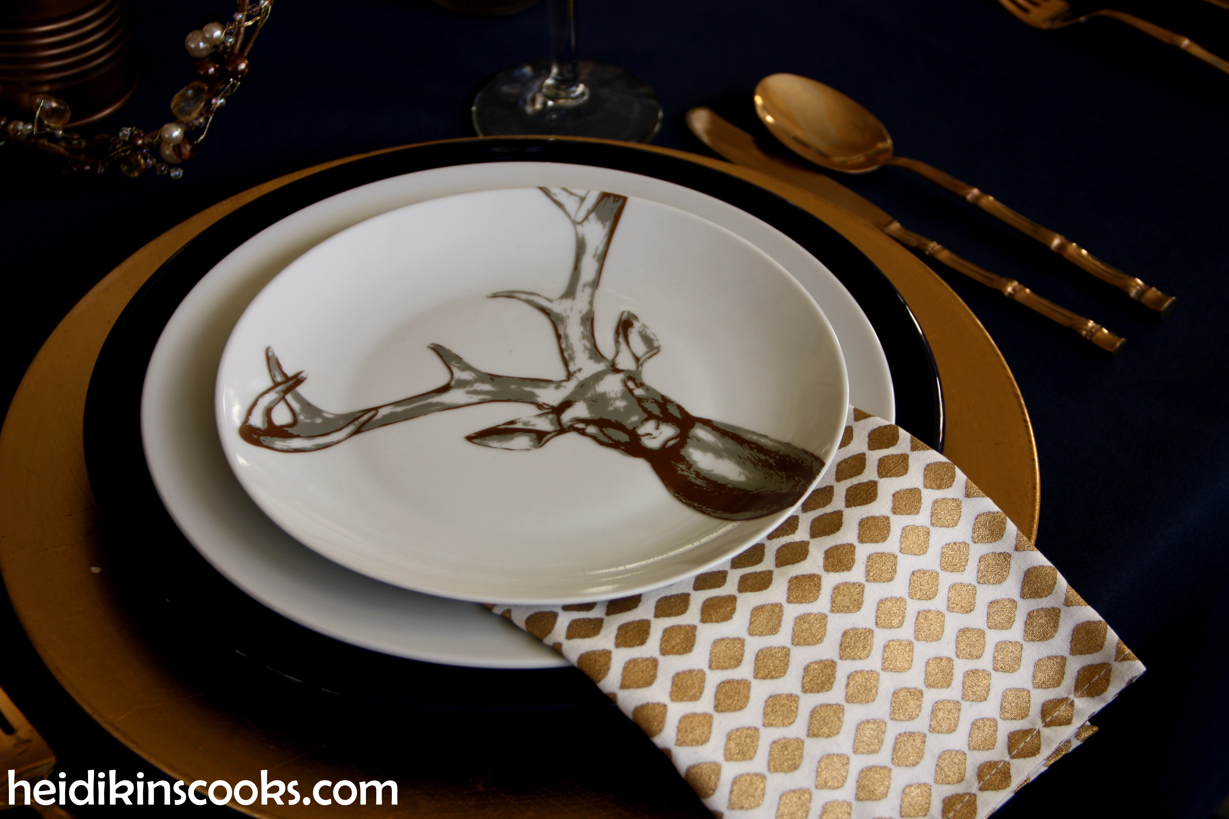 Tablescape Navy Gold_Antler Plates3_heidikinscooks_Jan 2104 & Table setting with gold and navy. And antlers. | heidikins cooks