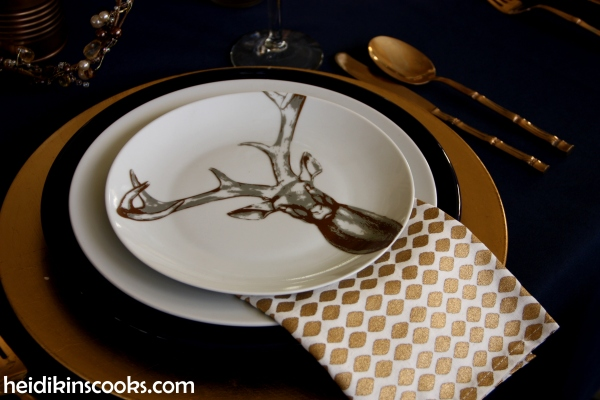 Tablescape Navy Gold_Antler Plates3_heidikinscooks_Jan 2104