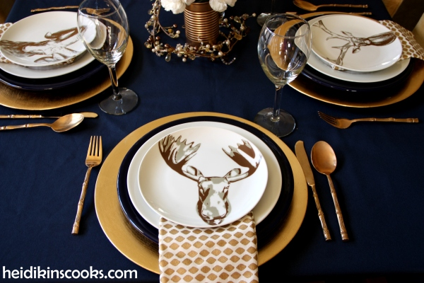 Table Setting With Gold And Navy And Antlers Heidikins