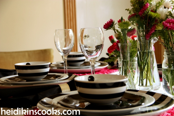 Valentines Table Setting_Black White Stripe with Hot Pink 10_heidikinscooks_Feb 2014