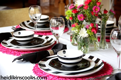 Valentines Table Setting_Black White Stripe with Hot Pink 2_heidikinscooks_Feb 2014