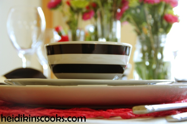 Valentines Table Setting_Black White Stripe with Hot Pink 6_heidikinscooks_Feb 2014