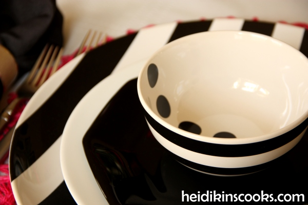 Valentines Table Setting_Black White Stripe with Hot Pink 7_heidikinscooks_Feb 2014