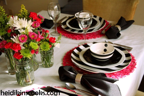 Valentines Table Setting_Black White Stripe with Hot Pink 8_heidikinscooks_Feb 2014