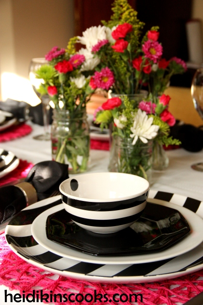 Valentines Table Setting_Black White Stripe with Hot Pink 9_heidikinscooks_Feb 2014