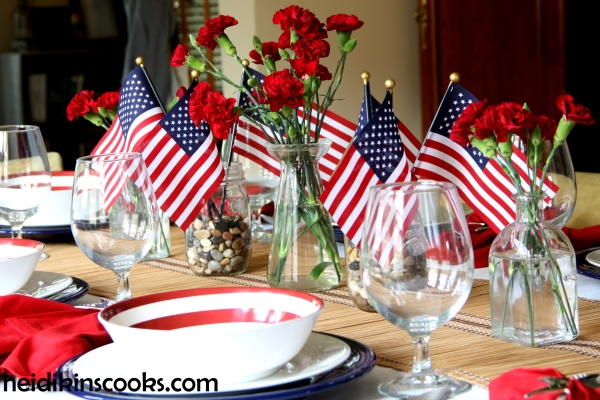 4th July Patriotic Pfaltzgraff Tablescape 2_heidikinscooks_June 2014