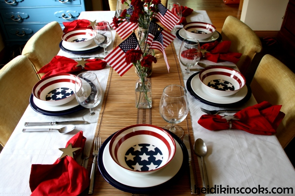 4th July Patriotic Pfaltzgraff Tablescape 6_heidikinscooks_June 2014