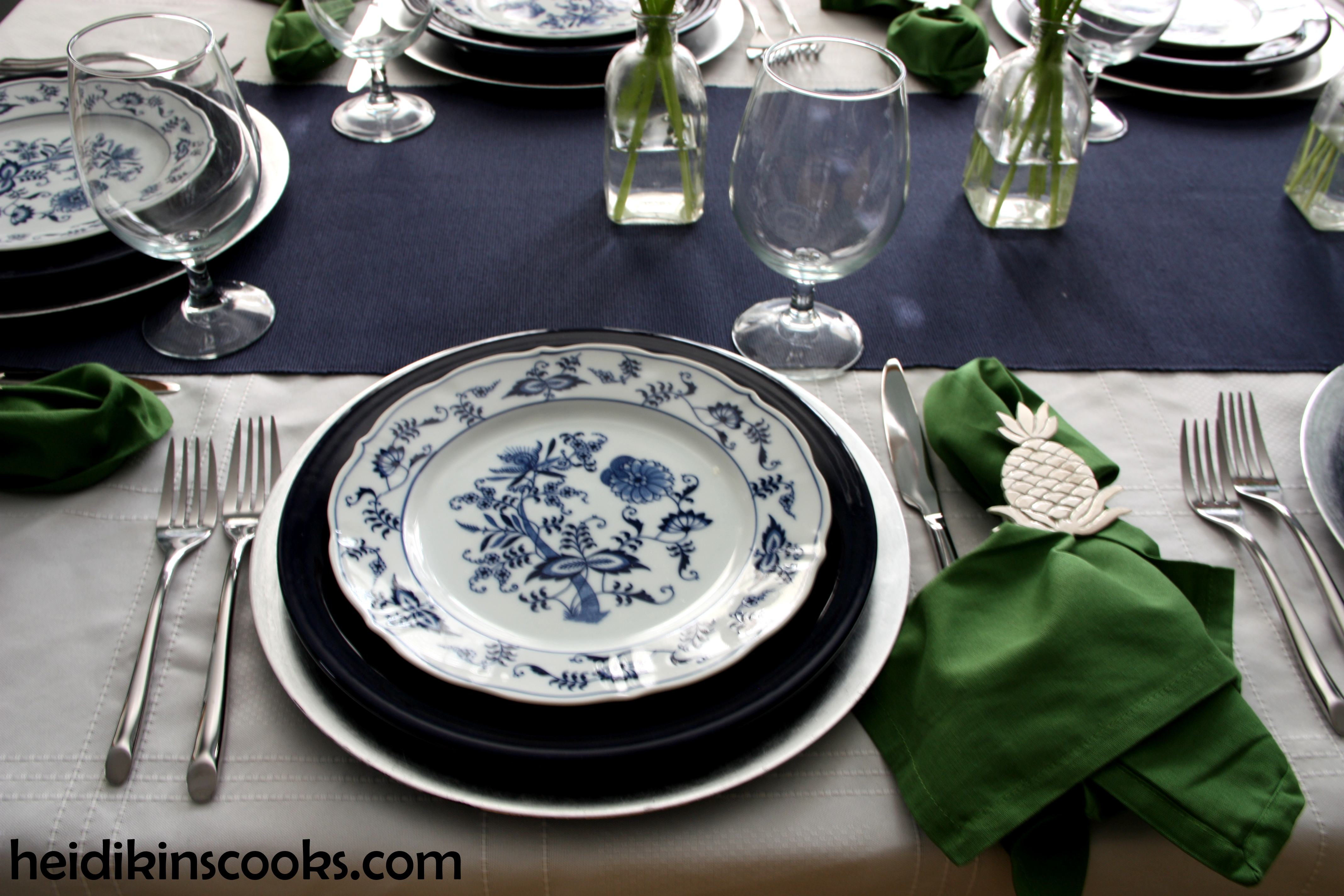 heidikinscooks_Blue Danube Fiesta table setting tablescape_january 2015 (2) : table setting for 2 - Pezcame.Com